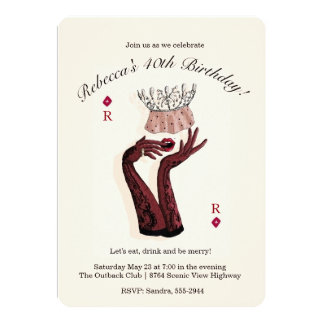 Party Queen Woman Lady Fashionista Birthday 5x7 Paper Invitation Card