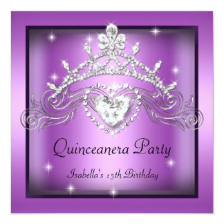 Party Quinceanera 15th Silver Purple Tiara Invitation