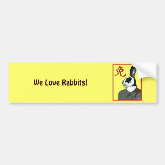 Party Rabbit Bumper Sticker