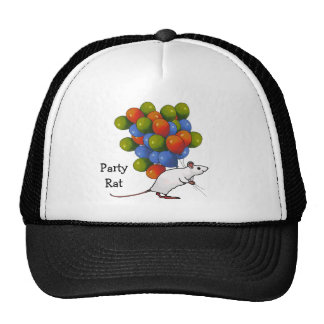 Party Rat: White Rodent Holding Lots of Balloons Trucker Hat