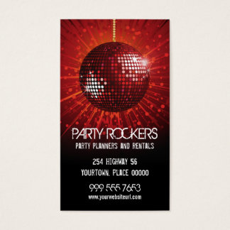 Party Rental Red Mirror Ball Business Card