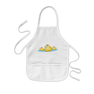 Party rubber duckies in lake apron