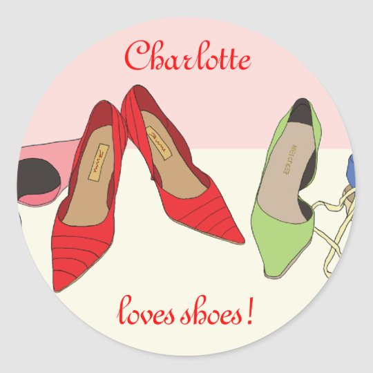 Party Shoes design - personalised Classic Round Sticker