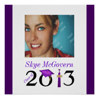 Party Sign In Board Class of 2013 Photo Purple Poster
