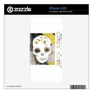 Party Skull with Butterfly Eyes iPhone 4S Skin