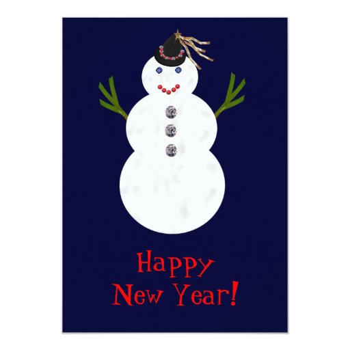 Party Snowman 5x7 Paper Invitation Card