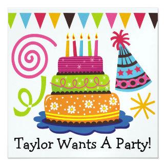 Party! -  SRF 5.25x5.25 Square Paper Invitation Card