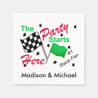 Party Starts Here Race Flag Name Personalized Paper Napkin