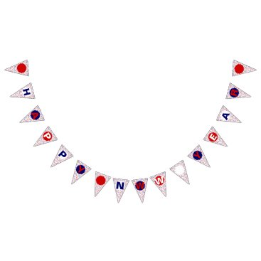 Professional Business Party Streamers Happy New Year Bunting Flags