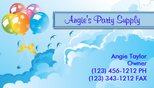 Party Supplies Balloons Business Card