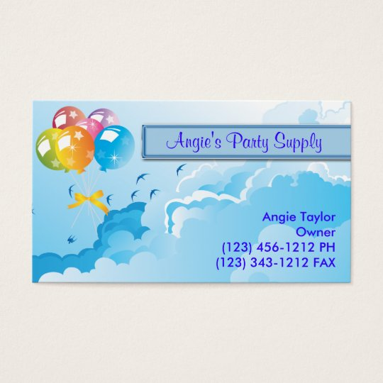 Party Supplies & Balloons Business Card