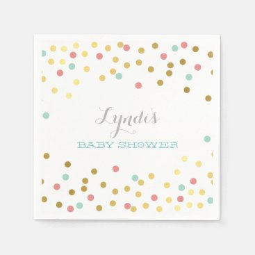 Toddler & Baby themed PARTY TABLE BABY SHOWER confetti gold mint coral Napkin