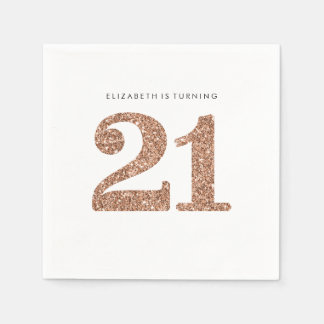 PARTY TABLE LARGE AGE modern 21 rose gold glitter Napkin