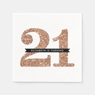 PARTY TABLE LARGE AGE modern 21 rose gold glitter Paper Napkin