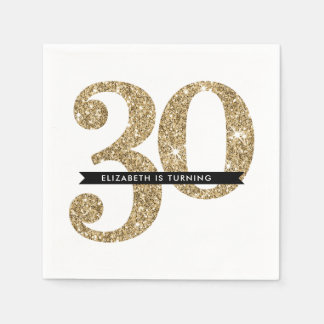 PARTY TABLE LARGE AGE modern 30 gold glitter Napkin