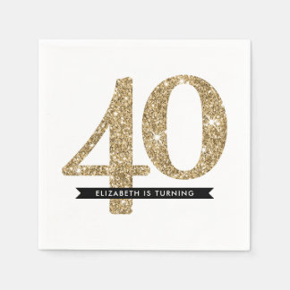 PARTY TABLE LARGE AGE modern 40 gold glitter Paper Napkin