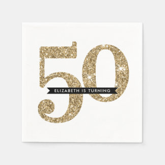 PARTY TABLE LARGE AGE modern 50 glam gold glitter Paper Napkin