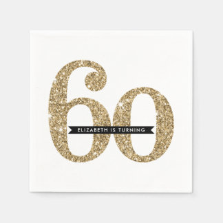 PARTY TABLE LARGE AGE modern 60 glam gold glitter Paper Napkin