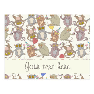 Party Tarsiers, patterned Postcard