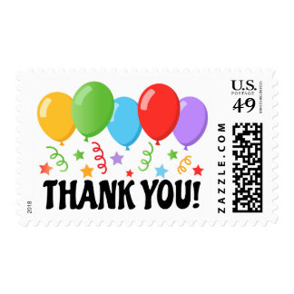 Party thank you, colorful balloons stars streamers stamps