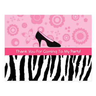 Party Thank You Trendy Zebra Girly Pink Shoes Postcard