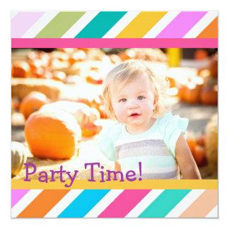 "Party Tiime Girls Birthday Invitation 5.25"" Square Invitation Card"