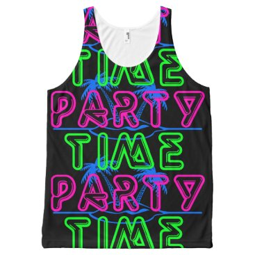 Beach Themed Party Time All-Over-Print Tank Top