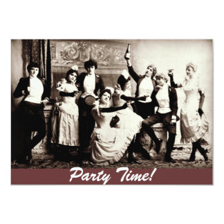 "Party Time Antique Women Celebrating Invites 4.5"" X 6.25"" Invitation Card"