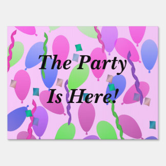 Party Time Balloons And Streamers Lawn Sign