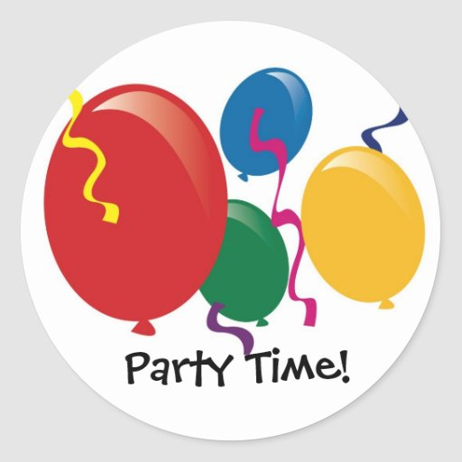 Party Time Balloons Stickers  Zazzle
