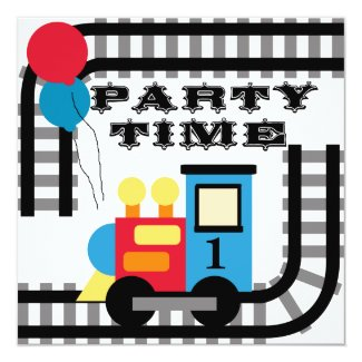 Party Time Birthday Train Invitations
