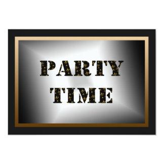 Party Time Black Gold Fleur de Lis Party Card