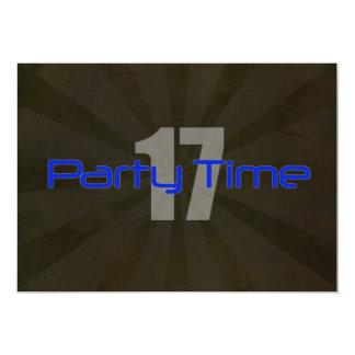 Party Time Black Gray Boy 17th Birthday Invitation