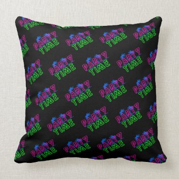 Beach Themed Party Time Black TP Throw Pillow