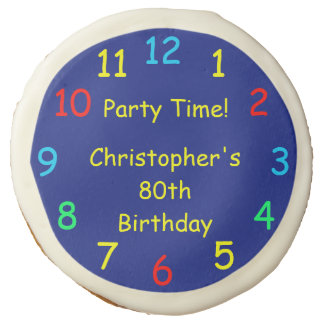 Party Time Blue Clock for 80th Birthday Party Sugar Cookie