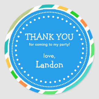 Party Time Boys Birthday Thank You Favor Sticker