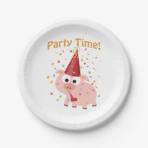 Party time Cartoon Pink Pig with confetti and Hat Paper Plate