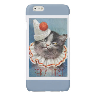 Party Time!  Cat in Birthday Hat - Vintage Art Glossy iPhone 6 Case