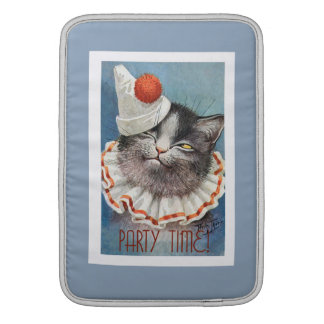Party Time!  Cat in Birthday Hat - Vintage Art MacBook Air Sleeve