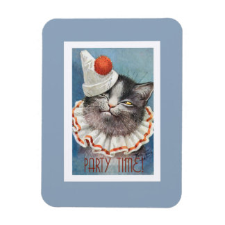Party Time!  Cat in Birthday Hat - Vintage Art Magnet