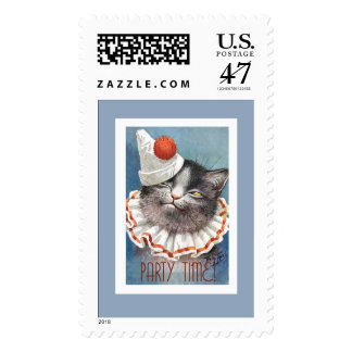 Party Time!  Cat in Birthday Hat - Vintage Art Postage