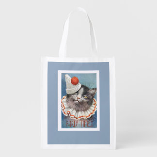 Party Time!  Cat in Birthday Hat - Vintage Art Reusable Grocery Bag