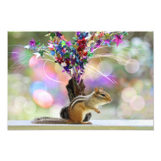Party Time Chipmunk Picture Photo Print