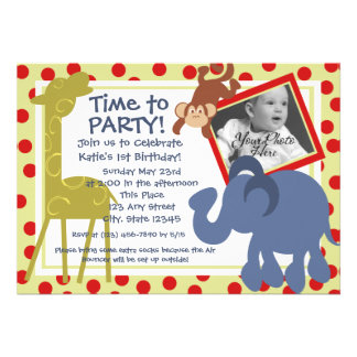 Party Time Circus Photo Personalized Invite