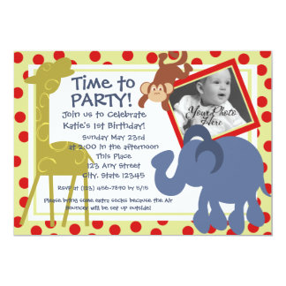 Party Time Circus/ Photo Personalized Invite