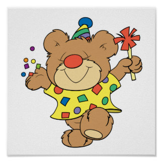 party time clown bear design poster