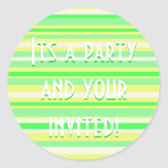 Party Time Collection Green and Yellow Stripes Round Sticker