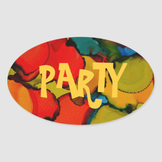 Party time collection oval sticker