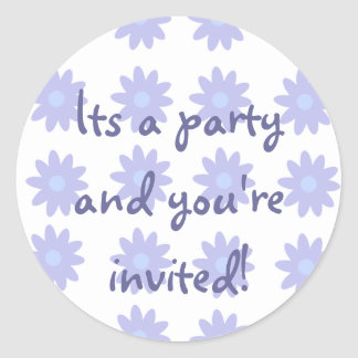 Party Time Collection Purple Floral Classic Round Sticker