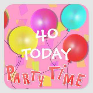 Party Time Colorful Balloons Personalized Square Sticker